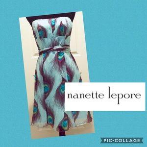 Nanette Lepore Peacock Silk Strapless Dress 👗 8